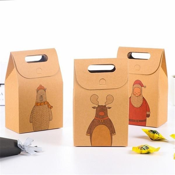 1Pc Christmas Gift Bags Cartoon Santa Claus Reindeer Bear Christmas Present Decorations for Home Kraft Paper Candy Bag