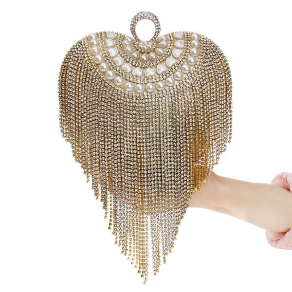 Moda de cristal de la borla de las mujeres bolso de diamantes fiesta de noche bolso de boda nupcial fiesta en forma de corazón embragues Negro / Oro / Plata