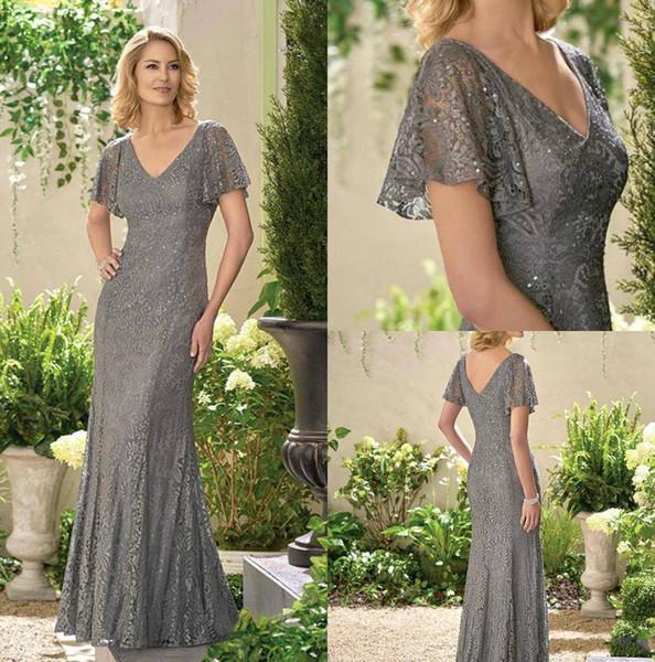 2019 платье для мамы невесты с короткими рукавами и V-образным вырезом вечернее платье русалка длиной до пола, с открытой спиной, свадебное платье