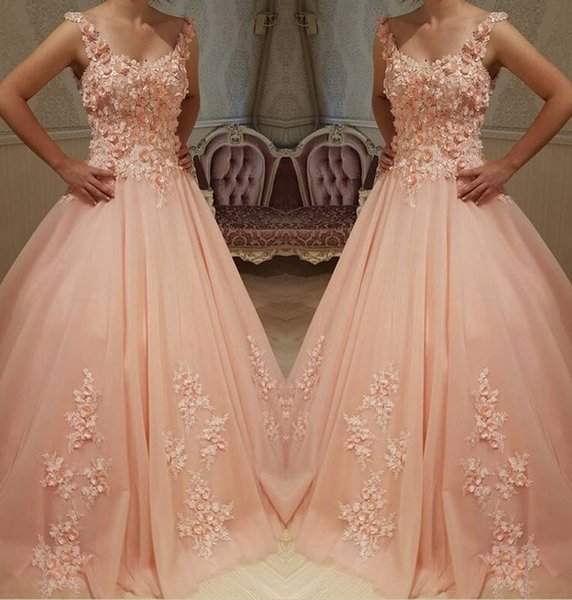 2019 Coral Lace Prom Dresses 3d Floral Formal Arabic Evening Gowns ...