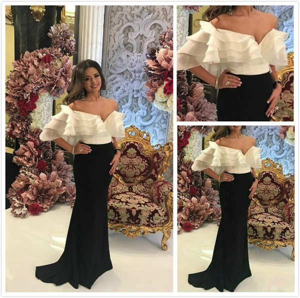 2018 Sexy V-Neck Sheer White And Black Sheath Party Prom Dress Elegant Mermaid Evening Dress Free Shipping