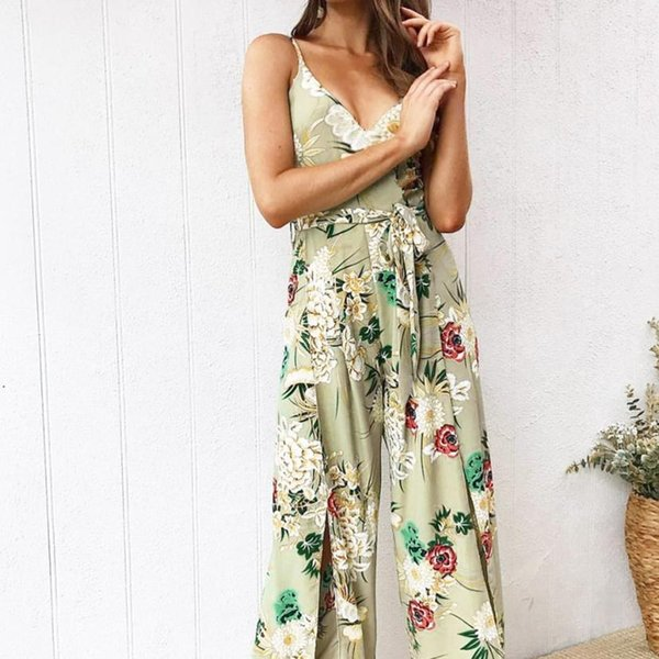 2018 rompers womens jumpsuit Strappy Floral Slit Long Trouser Playsuits Holiday summer romper bodysuit C30814