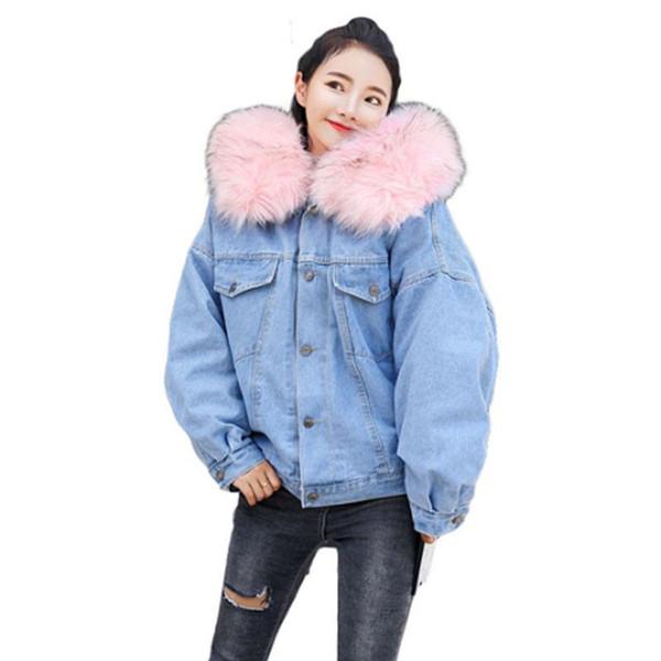 Women Winter Thick Jean Jacket Faux Fur Collar Fleece Hooded Denim Coat Oversized Female Lamb Fur Padded Warm Denim Jacket Outwear