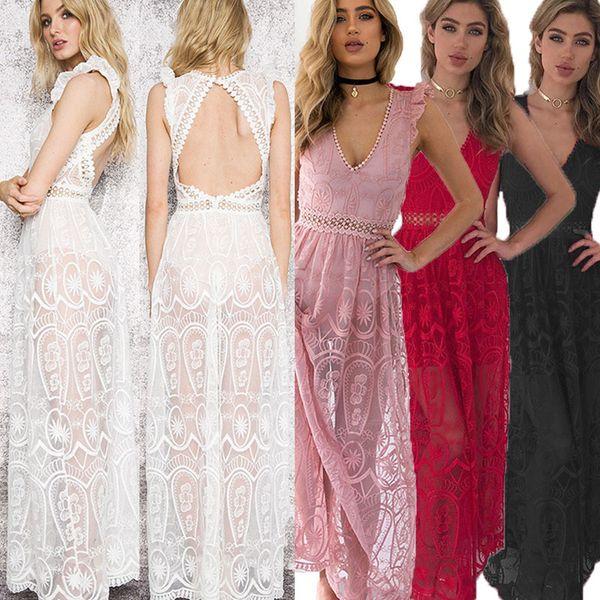 Sexy Hollow Out White Lace Dress Women Spring High Waist Sleeveless Backless Dress Elegant Christmas Maxi Long Dress