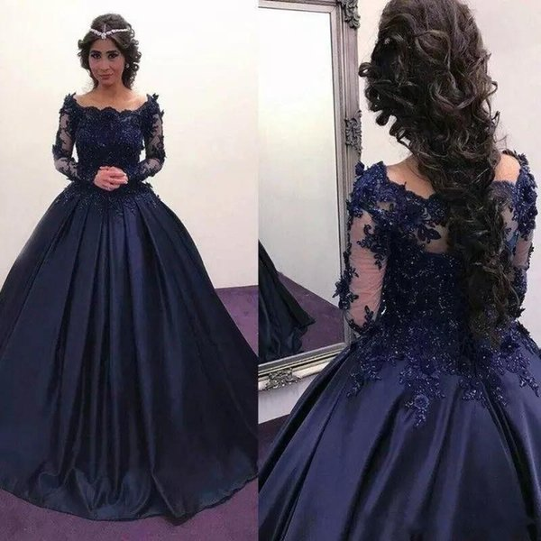 2018 Free Shipping Navy Blue Long Sleeve Prom Dresses Bateau Lace Satin masquerade Ball Gown African Evening Formal Dress vestidos Plus Size