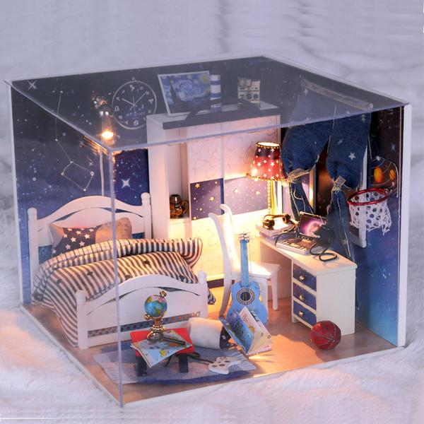 Diy 1:24 3D Ahşap Bebek Evi Miniatura Mobilya Ahşap Dollhouse Minyatür Evler oyuncaklar Doğum Günü Hediyesi-yıldızları görmeye götürmek