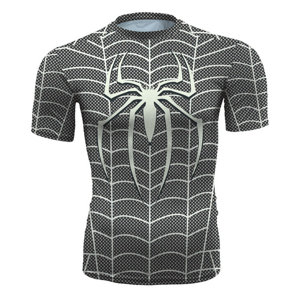 Men's fashion creativity t-shirt superman black tights tee superhero Spider-Man sport short sleeves cycling fast dry basketball vest