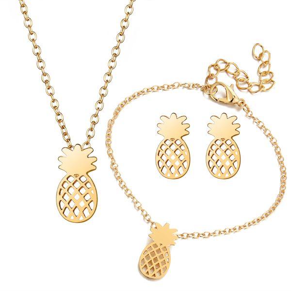 Plata / Oro Color Stud Pendientes Collar Pulsera Moda Hollow Piña Conjunto de joyas para niñas Conjuntos de joyería