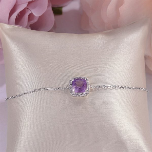 Fine Jewelry 100% Natural 1.75ct Amethyst Bracelets For Women Solid 925 Silver Purple Gemstone White Gold Plated CCHI007