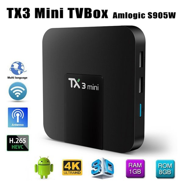 TX3 Mini Smart TV Box Amlogic S905W WiFi Android 7.1 1G+8G 4K HD 1.5GHz Set-top TV Box 2.4GHz Media Player