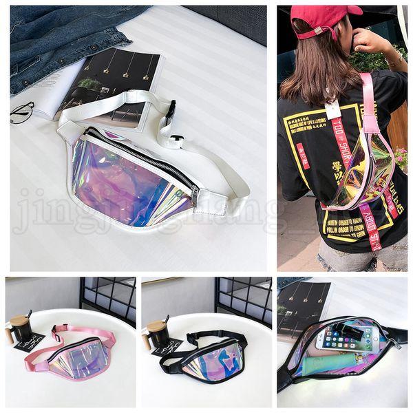 Mulheres PVC Pacote de Cintura Holograma A Laser Fanny Pacote Zíper Saco Reflexivo Cinto Saco de Telefone Holográfico Transparente Crianças Bolsa OOA5211