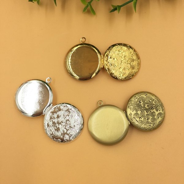 10pcs 27*6MM Silver/antique bronze/gold/ round flower photo locket pendant charms jewelry, diy metal fashion picture frame pendants wish box