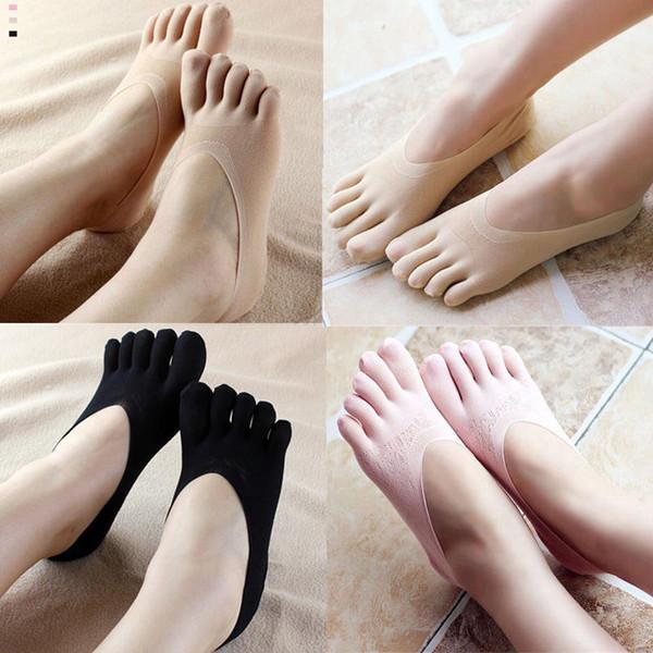 New Dance Half Toe Cheville Grip Short Pilates Chaussettes Femmes Non Slip Toe Chaussettes Full Grip Five Finger Meias