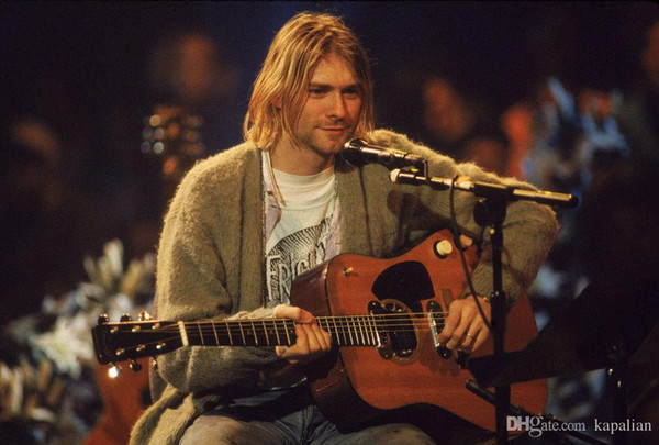Free Shipping Nirvana Kurt Cobain Guitar Singing High Quality Art Posters Print Photo paper 16 24 36 47 inches
