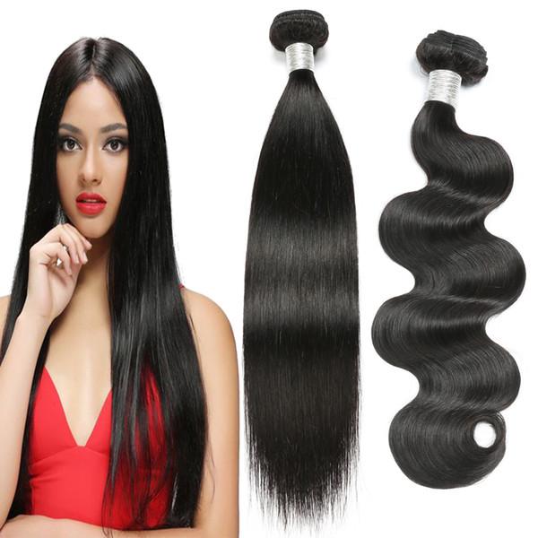 Feixes de tecer cabelo humano Cutícula Alinhados Não Transformados raw 10a grau extensões de cabelo virgem cor natural onda do corpo e em linha reta