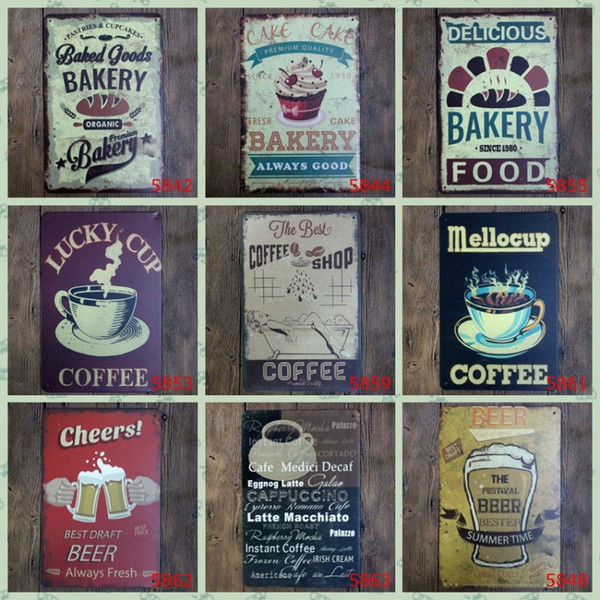 Lunck Cup Coffee Tin Poster Cheers Best Draft Beer Fresh Cake Bakery Tin Sign Hot Chocolate 20*30cm Iron Paintings Vintage 3 99lP BZ