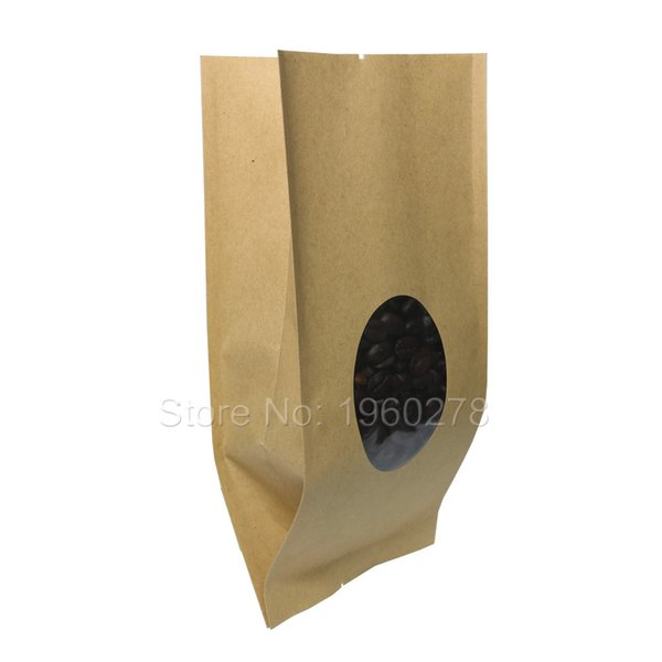 10x26cm(4x10.25in) Brown Heat Seal Side Gusset Pouch, Tear Notches Kraft Paper Plastic Open Top Package Storage Bag Clear Window