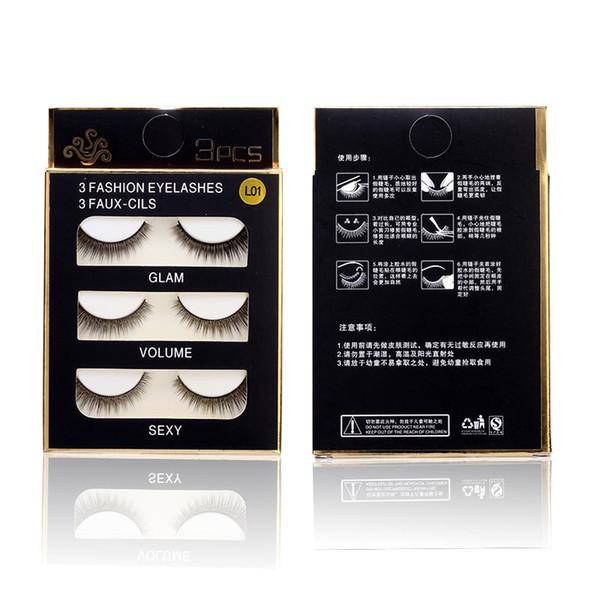 3 Pairs Natural False Eyelashes 13 Style Support Wholesale Single Natural Bushy Makeup Cross False Eyelashes Eye Lashes