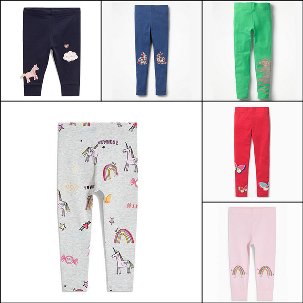 Kids Unicorn Skinny Leggings Cotton Flower Strawberry Printed Clothing for Girls Full Length Pants Slim Pencil Trousers Children 9 Colors