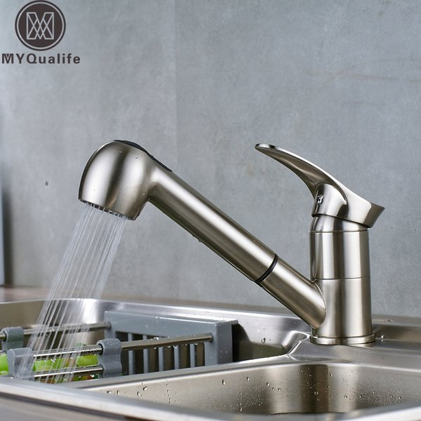 Pull Out Kitchen Sink Faucet Single Lever Kitchen Mixer Tap Brushed Nickel Sprayer Steam Spout Hot Cold Water Faucet for