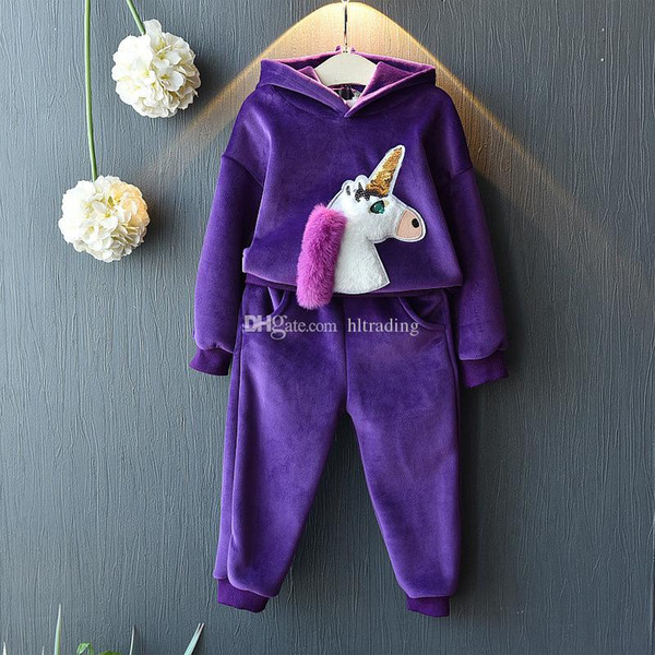 Baby girls outfits children unicorn Hooded top+pants 2pcs/set Autumn Velvet suit kids Clothing Sets C5484