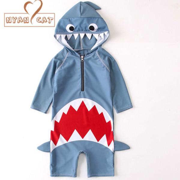 Nyan Cat 2018 summer baby boys girls hooded swimwear shark swimming suit infant toddler kids children spa beach bathing costume Y1892808