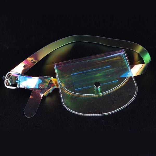 Pequeñas Bolsas de Cintura Diseño Claro Moda Transparente Fannie Packs Fanny Pack Sobres Paquetes de Cintura Bolsas de Cinturón de Dinero para Mujeres 2018