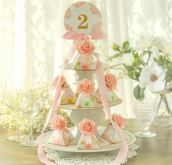 5pcs Cake Tower Party Gift Holder Baby Shower Candy Boxes with Ribbon Carriage Shape Shower Favor box For Bomboniere Wedding Anniversary
