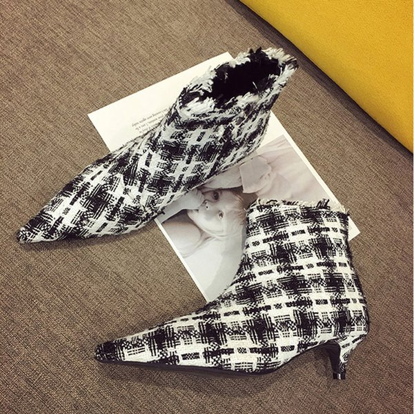 618f9821a751 Boussac Sexy Pointed Toe Kitten Heel Women Boots Elegant Black White Plaid  Ankle Boots Women Brand