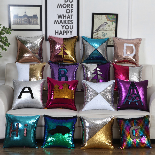 top popular Sequins Pillow Case Cushion Heat printing Sublimation Pillow Cover Throw Cushion Case Magic Reversible Wholesale Free DHL 2019