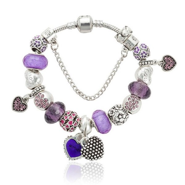 Moda Pandora Style Charm Bracelets 925 Sterling Silver Purple Crystal European Charm Beads Adapta Pulseras Love Heart Bangles Joyería DIY