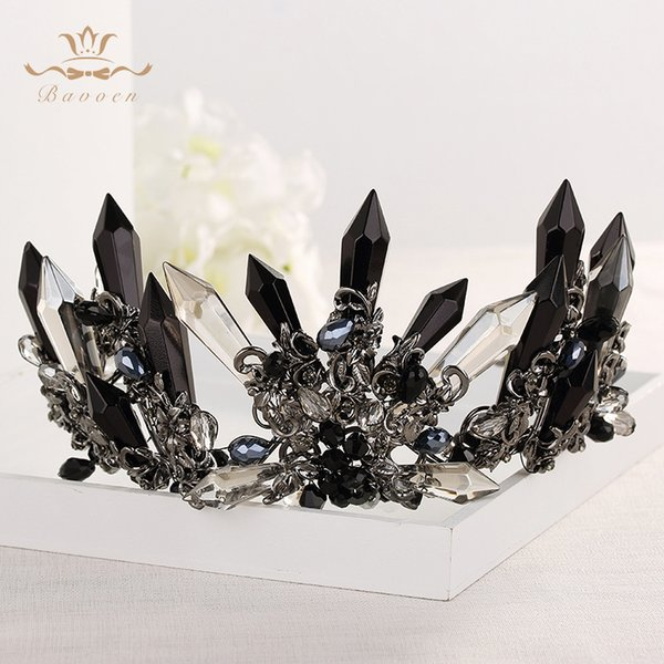 Handmade Luxurious Crowns Tiaras for Brides with Black Rhinestone Retro Baroque Hairbands Headpiece Prom Hair Jewelry X912