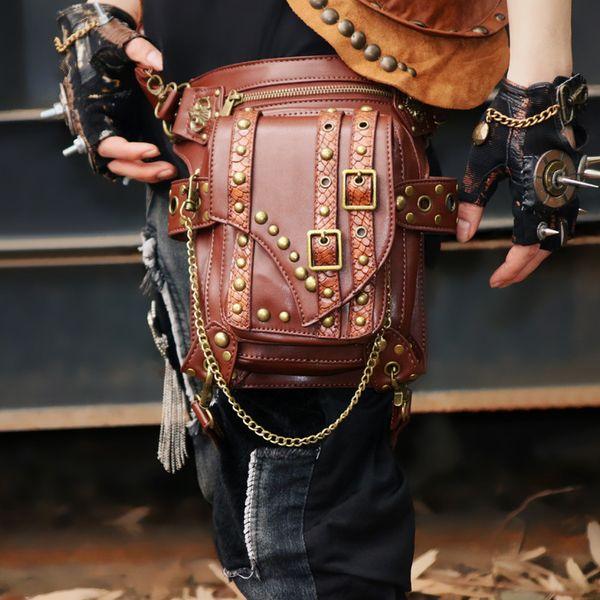 Steampunk Holster Protected Purse Shoulder Purse leather Men's bag Motor leg Pack Waist Packs chain package Messenger Bag