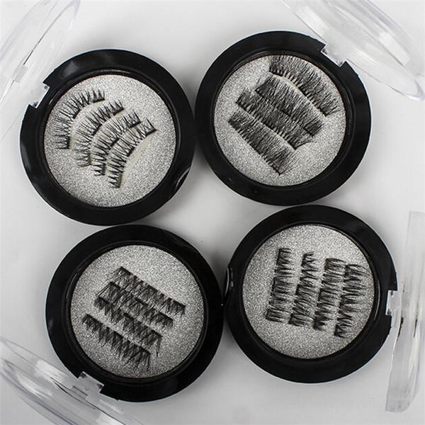 4Pcs/Set Handmade 3D Double Magnetic Eyelashes on magnets Natural No-glue Fake Eye Lashes Brown Magnet False Eyelash Extension