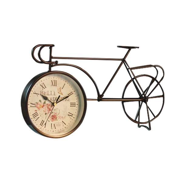 Retro American Iron Bicycle Desk Clock Creative Home Decor Figurines Personality Silent Bar Living Room Decorations Fashion Gift