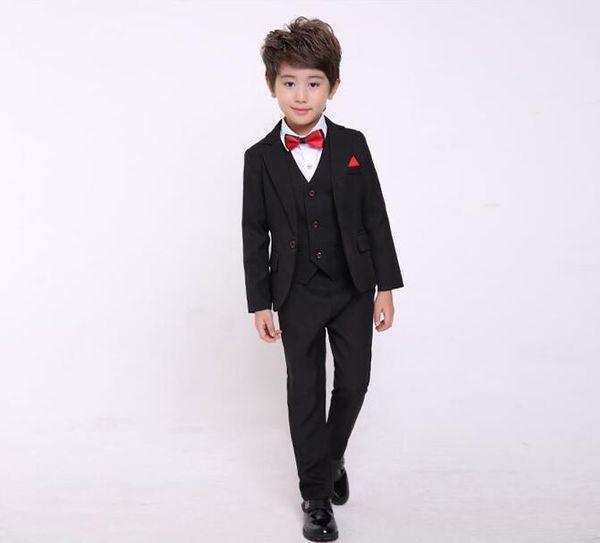 2018 Boys Formal Suit Wedding Birthday Party Dress Kids Blazer Vest Pants 3pcs Tuxedo Children Prom Performance Costume