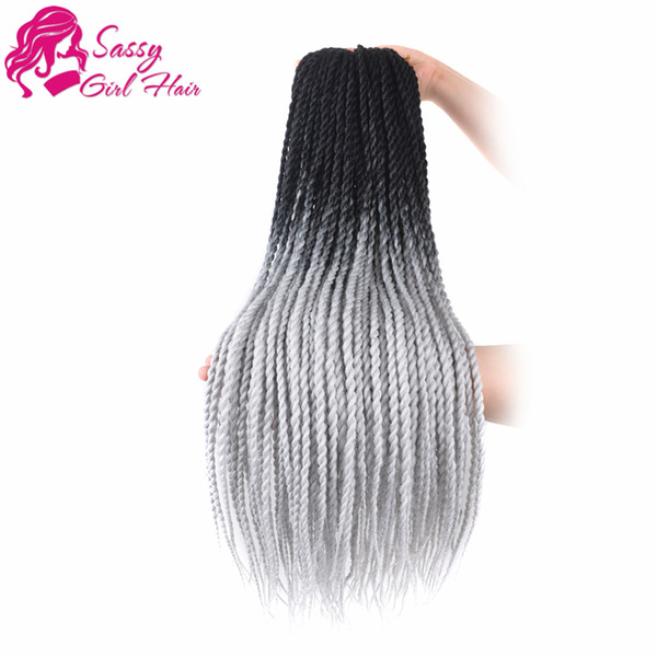 24 inch 5 Packs Senegalese Twist Crochet Hair Braids Synthetic Hair Extensions (Black To Grey)SASSY GIRL