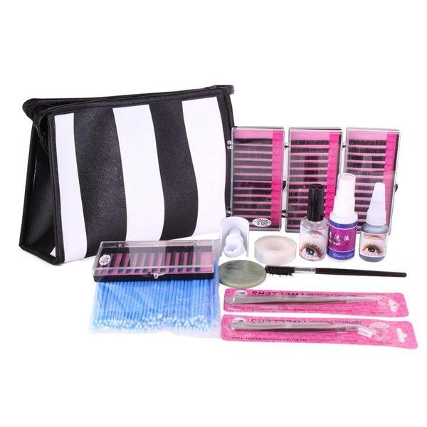 Wholesale New Sale Semi Permanent Make Up Individual Eyelash Extensions C Curl Glue Set eyelash kit