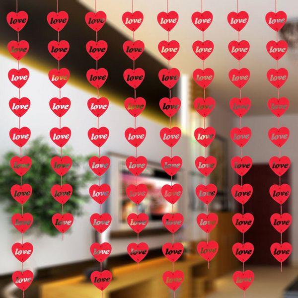 16 Coeurs Romantique Décoration De Mariage Salle De Mariage Disposition DIY Non-tissé Guirlande Creative Amour Rideau De Coeur ZA5819