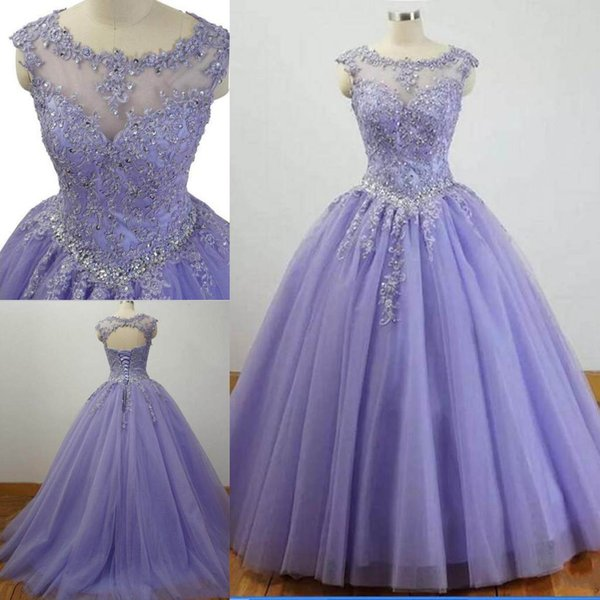2018 Elegant Ball Gown Quinceanera Dress Lace Appliques Open Back Lace Up  Beaded Prom Dresses Graceful Evening Gowns Light Purple Quinceanera Dresses