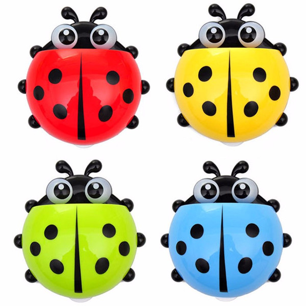 best selling 1PC Ladybug toothbrush holder Toiletries Toothpaste Holder Bathroom Sets Suction Hooks Tooth Brush container ladybird on sale