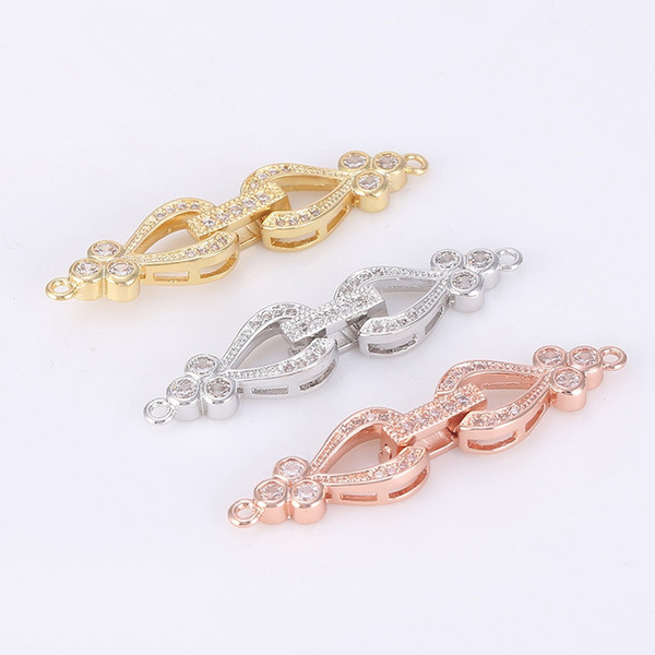 Wholesale New Fashion Diy Jewelry Findings Accessories Copper Rhinestone Fold Over Clasps Bracelet Necklace Components Making Supplies