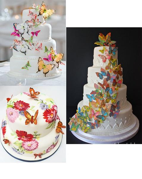Acheter Dhl Gateau Et Cupcake Toppers Ediable Papillon Petit Assortiment Raibow Collection Ensemble De Decoration De Gateau Pour La Fete