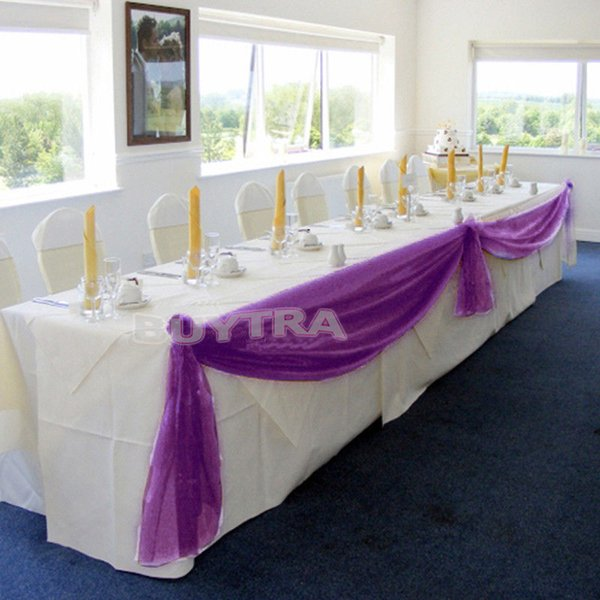 5Mx0.5M Table Swags Candy Color Organza Roll Table Swag Party Wedding Chair Sash Bow Runner Swag Decor