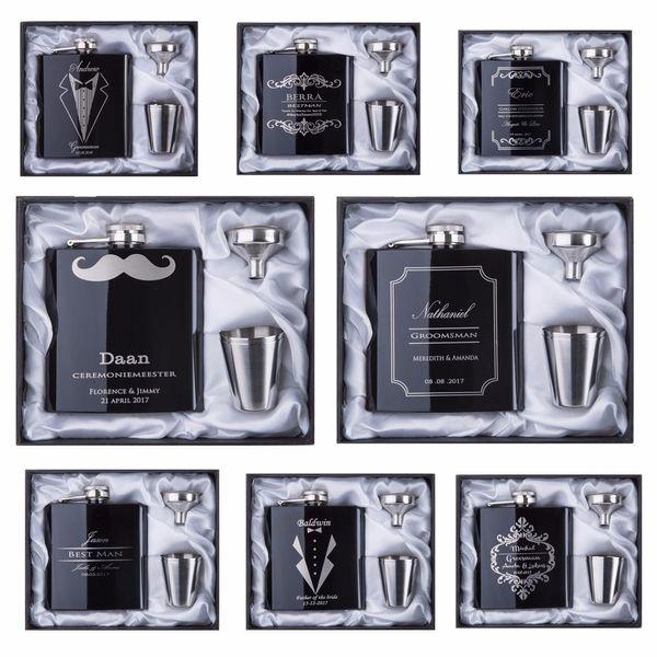 2017 Rabatt Groomsman Geschenk personalisierte gravierte 6oz Flachmann Edelstahl mit White Black Box Geschenk Hochzeitsbevorzugungen