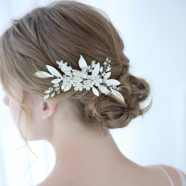 Silver Color Blossom Bridal Headpiece Hair Jewelry Hand wired Leaf Wedding Hair Comb Accessories Women Hairwear