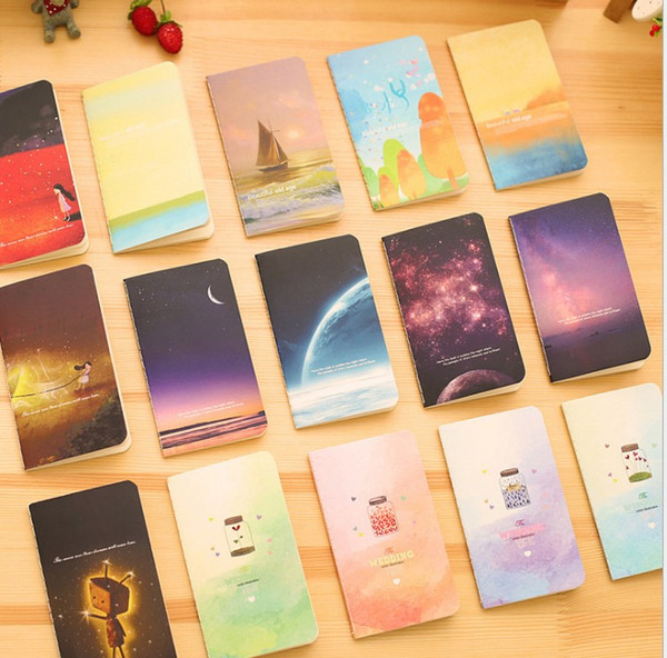 top popular Mini Cute Ocean Series Notebook Wishing Bottle Childhood Fantasy Style Notepad Moon Star Universe Diary Portable Notebook 2021