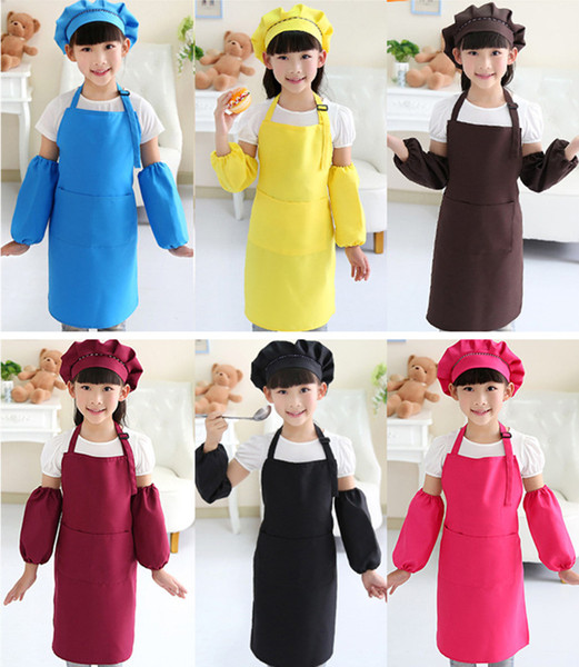 best selling Kids Aprons Pocket Craft Cooking Baking Art Painting Kids Kitchen Dining Bib Children Aprons with hat and sleeves Kids Aprons 10 colors