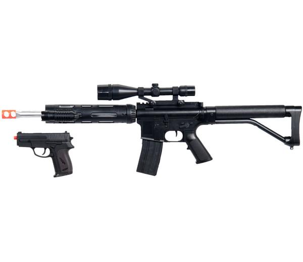 НОВЫЙ M4 A1 M16 TACTICAL ASSAULT SPRING AIRSOFT RIFLE GUN с пистолетом LASER LIGHT BB
