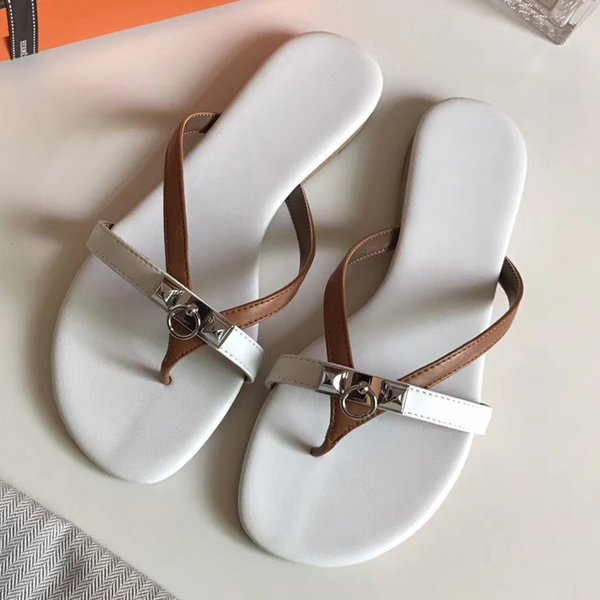 Free Shipping 2018 NEW Women Slippers Sheepskin Genuine Leather Slides Flat Heels Moccasins Buckle Shoes Best Quality Flip flops shoes